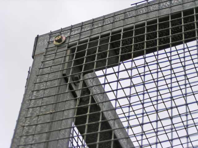 Closeup of corner angle bracket fixing